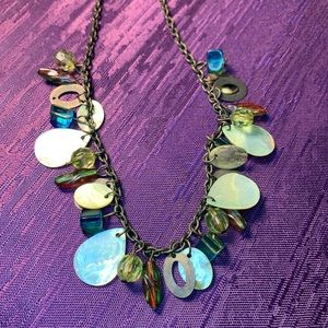 Jewelry - Blue Yellow Glass Beads MOP Shell Necklace